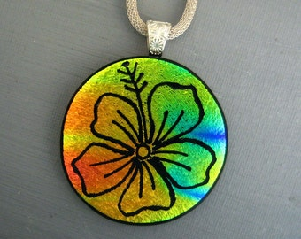 Round Dichroic Fused Glass Flower Pendant, Hand Etched Hibiscus, Fused Glass Pendant, Hand Etched Focal Pendant - Hawaiian Inspired Jewelry
