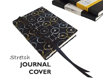Journal Cover a5 in BICYCLES Stretch Fabric, Large 5 x 8.25 Moleskine Notebook Cover, Large Moleskine Cover a5, Leuchtturm1917 Cover a5