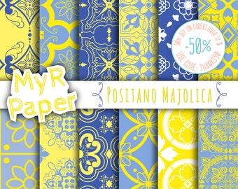 """Majolica Digital Paper: """"Positano Majolica"""" Neapolitan Majolica, Moroccan, Arabesque, Blue & Yellow"""
