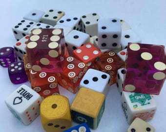Lot of 34 assorted Dice Colorful Various Sizes