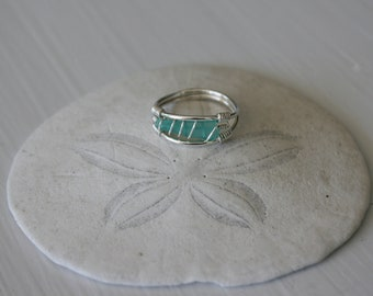 US Size 8.5 Turquoise Recycled Glass & Sterling Silver Ring