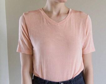 Slinky Ribbed Soft Pink Minimalist V-Neck Short Sleeve Top- Sz Small
