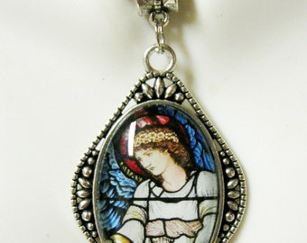 Angel with blue wings stained glass window pendant and chain - AP26-084