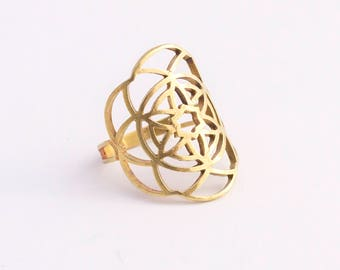 Kabbalah Ring, Flower of Life Ring, Sacred Geometry Jewelry, Occult Ring, Gold Occult Ring, Gold Kabbalah Ring, Mandala Ring