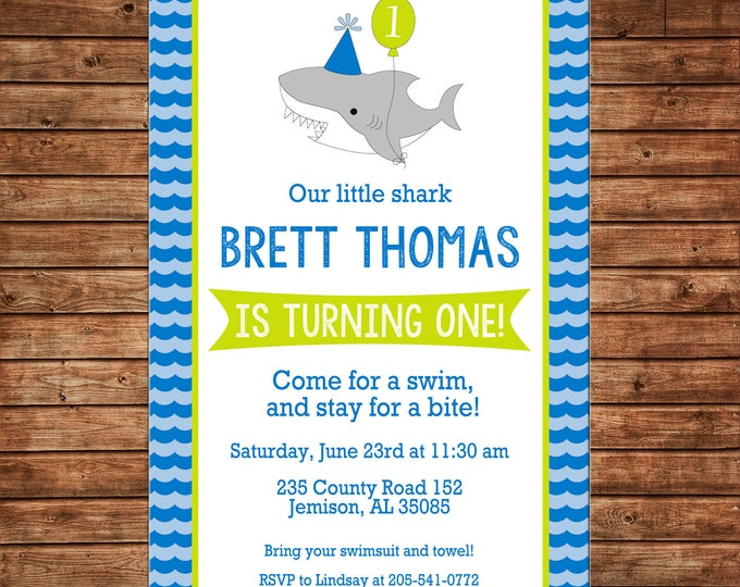 Boy or Girl Invitation Baby Shark Pool Beach Birthday Party - Can personalize colors /wording - Printable File or Printed Cards