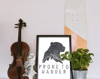 Prone To Wander- Digital Print , Printable Wall Decor, Mountain Print, Black & White, Wall Decor Mountain Art Print Wall Art
