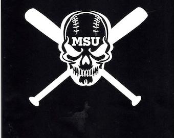 Baseball softball bats skull car/truck Decal sticker - 294