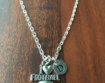 Football Love  Initial necklace, Sports Jewelry, silver football ,  gift for football lover, I love Football Jewelry