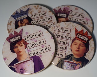 Set of Four Funny Women Coffee Sayings Hit Me With Your Best Shot I Like Big Cups......  Coasters Wine Coaster Drink Coasters Coffee Coaster