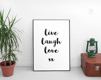 Printable Live Laugh Love Print - Black and White - Home Decor Poster - Instant Download - Typography Wall Art