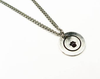 Paw Print Pendant - Pawprint Necklace for Dog Lover, Puppy Owner - Animal Jewelry