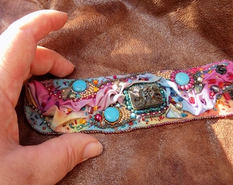Hand  dyed Wool and silk Embroidered cuff