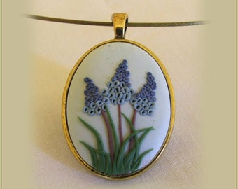 Grape Hyacinth Necklace Flower Jewelry Birthday Gift Girlfriend Gift High School Graduation Gifts for Her Boho Jewelry Rustic Jewelry