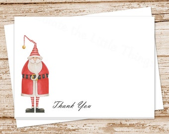 christmas thank you cards . watercolor old-fashioned santa . folded notecards . stationery . holiday note cards . set of 8