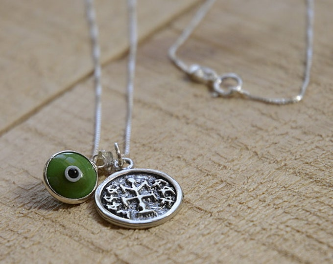 Winner Solomon Seal & Evil Eye Charm Necklace