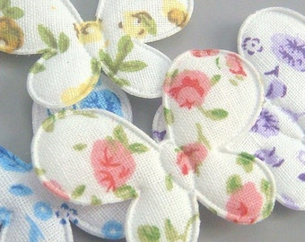 20 Padded Floral Print Butterfly Appliques EA148
