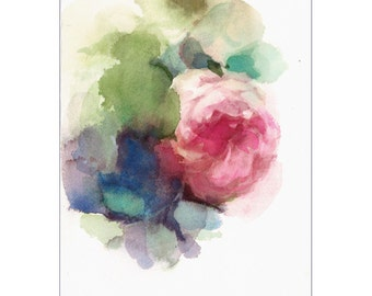 Rose - Original Watercolor Painting Flowers English Garden Kitchen Art Cottage Decor Shabby Chic 7 x 9 1/2 inches