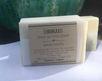 Lemongrass Shea Butter Soap (2 BARS) - 100% Natural, Aromatherapy Soap, Handmade bar soap, cold process, facial soap, palm free