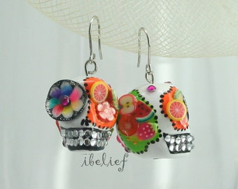 Skull in a-day is the day of the dead fruit salad skulls earrings stone
