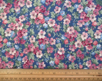 Mauve Floral on Blue Background - Concord - 1 yard    M-1-25