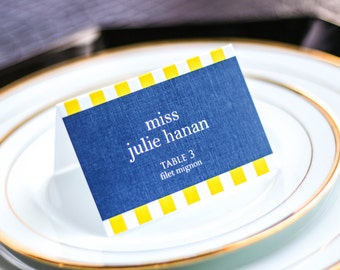 "Seaside Wedding, Navy and Yellow Stripe Placecards, Beach Wedding Escort Card, Nautical Party - ""Preppy Chic"" Tented Placecard v1 - DEPOSIT"