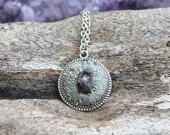 Garnet Necklace - Crushed Pyrite Jewelry - Garnet Jewelry - Boho Gypsy Necklace - Boho Chic Natural Gemstone Jewelry - Raw Stone Necklace
