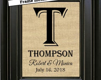 Framed Monogram Burlap Print Family Name Sign Rustic Wedding Decor Unique Wedding Gift for Couple Personalized Bridal Shower Gift Reception