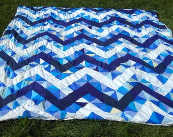 Chevron Patchwork Quilt - Upcycled Duvet Cover - Custom Blue and White Queen Size Blanket
