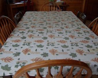Vintage Fall botanical print tablecloth. Cotton leaf print table cloth. vintage World Market Tablecloth