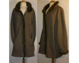 Women's Coat, wool coat, winter coat, oversize coat, fur coat, faux fur coat, plus size, oversize, blanket coat, vintage coat, outerwear, 3X