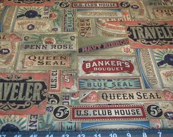 Cotton Fabric Fat Quarter TIM HOLTZ Old time Cigar Boxes Vintage shades and style fiber arts crafts decor quilts mixed media collage