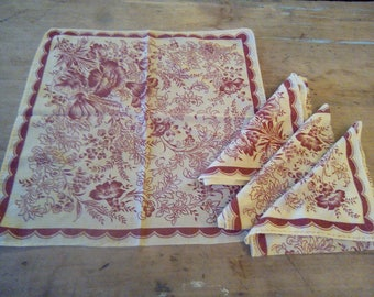 Beautiful vintage French red and white napkins