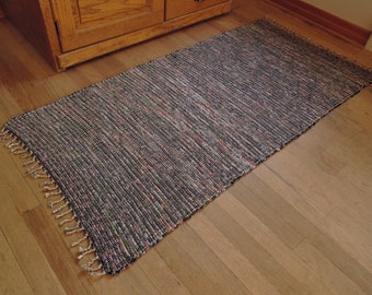 """Hand Woven Rag Rug Navy Floral 27"""" x 56"""""""