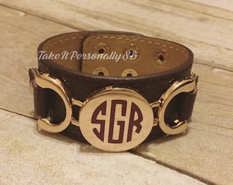 Monogrammed leather snap adjustable bracelet - Monogram cuff bracelet - Monogram jewelry