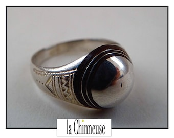 VINTAGE TUAREG ring / Vintage Berber ring / ring Berber silver and ebony / Ethnic jewelry / Collectibles / Vintage Jewelry.