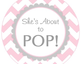 She's About To Pop, 4 INCH size, DIY, You Print, You Cut - Instant Download