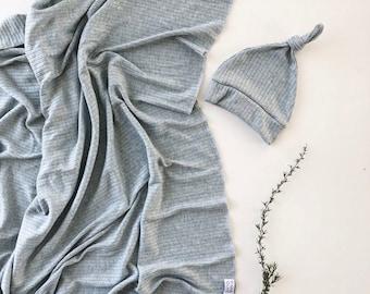 Baby Swaddle- the | Skye | Blue Grey Knit Swaddle Blanket