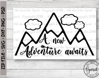 SVG A new Adventure Awaits Cricut svg Silhouette dxf New Adventure svg DIY Graduate gifts cut file Pillow T-shirts Wall decal Wood signs