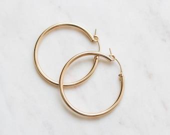 Thick Hoop Earrings - Gold Filled Earrings - 36mm Gold Hoop Earrings - Minimalist Jewelry - Big Gold Hoops - Gift for Her - Christmas Gift