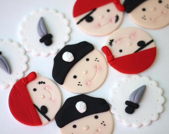 Pirate Cupcake Toppers - Pirate Fondant Toppers - Pirate Party - Pirate Event - Edible Pirate Toppers