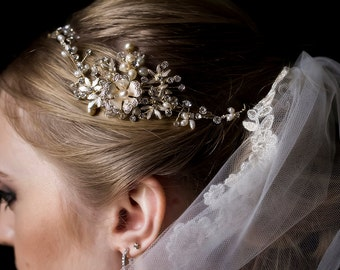 Gold Bridal Hair Vine with Rhinestones Freshwater Pearls and Flowers