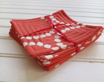 Set of 4 Quilted Coasters -  Orange Pearl Bracelets