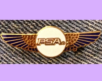 PSA Airlines Pilot Wings Brooch Pin ~ miniature size ~ '80's Vintage Cloisonne on brass