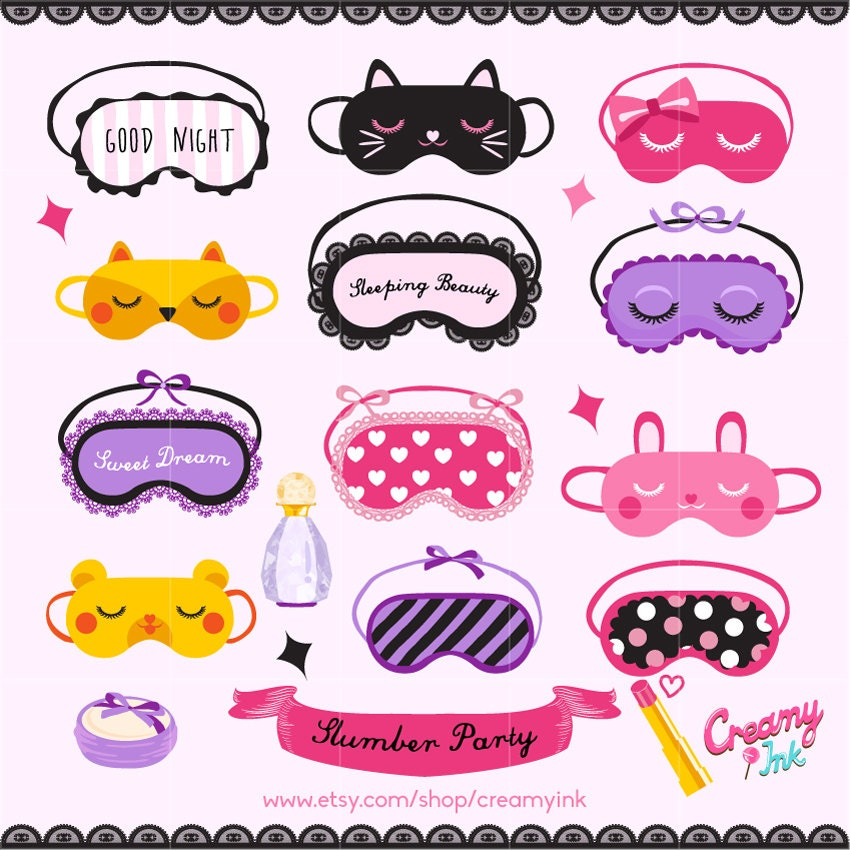 Slumber party digital vector clip art sleepover clipart zoom pronofoot35fo Images