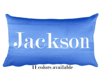 Boys Pillow, 12x20, Blue Pillow with Name, Baby Boy Gift, Kids Name Pillow, Name Pillow for Boy, Blue Nursery Pillow, Boys Gift, Kids Gift