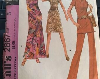Vintage 70s McCall's 2867 Dress/Pants Pattern-Size 16 (38-29-40)