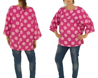 LB700PK women's blouse linen used look tunic 3/4 arm one size gr. 38 40 42 44 46 Pink