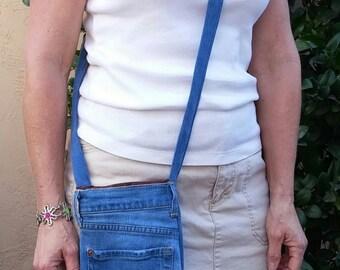 Purse denim repurposed, denim crossbody bag, messenger bag, repurposed jeans, hip bag, tote bag, shoulder bag, Seven For All Mankind, D16