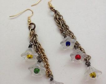 Boho Earrings - Flower Earrings - Floral Earrings  - Hippie Earrings - Gypsy Earrings - Dangle Earrings - Chain Earrings - Gold Earrings