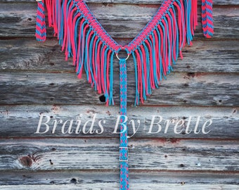 Horse Tack, Fringe Breast Collar, Hot Pink and Turquoise, Barrel racing tack, Paracord, Neon